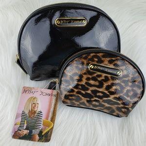 Betsy Johnson | Patent Cheetah Cosmetic Bags